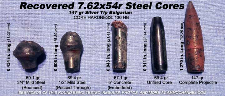 7.62x54r 147 ge Bulgarian Steel Core Silver Tip recovered penetrating cores